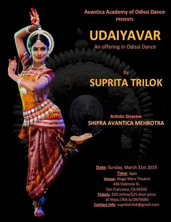 Flyer for Suprita Trilok UDAIYAVA dance performance